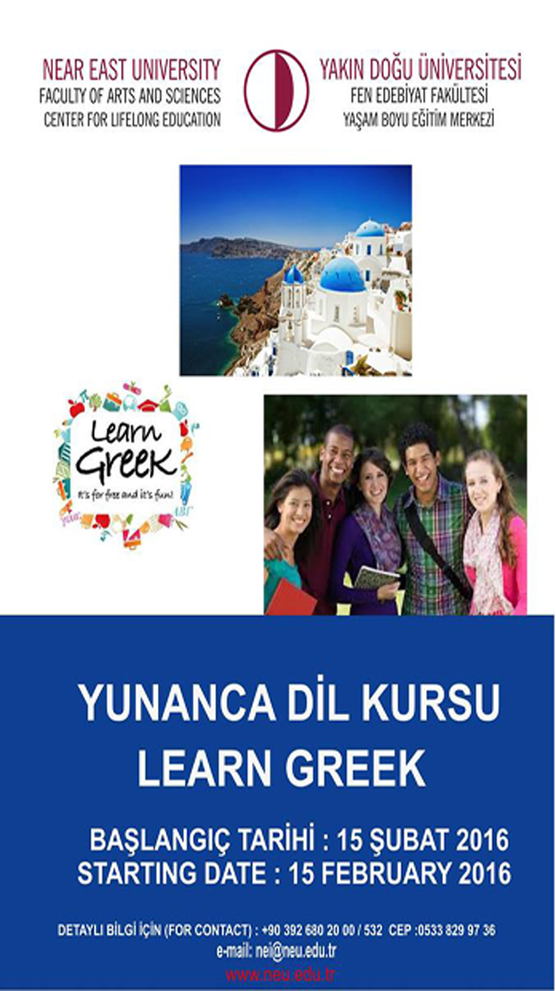 Near East University Lifelong Education Center contemporary Greek language program begins on February 15, 2016