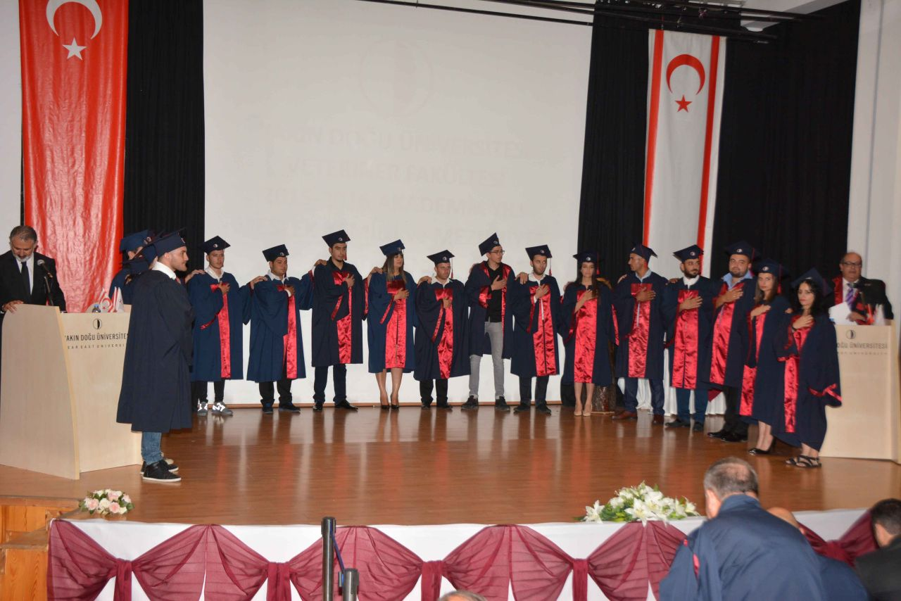 Near East University Faculty of Veterinary Graduates were presented their diplomas subsequent to saying the Veterinarian's Oath