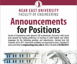 NEU, Faculty of Engineering Announcements for Positions