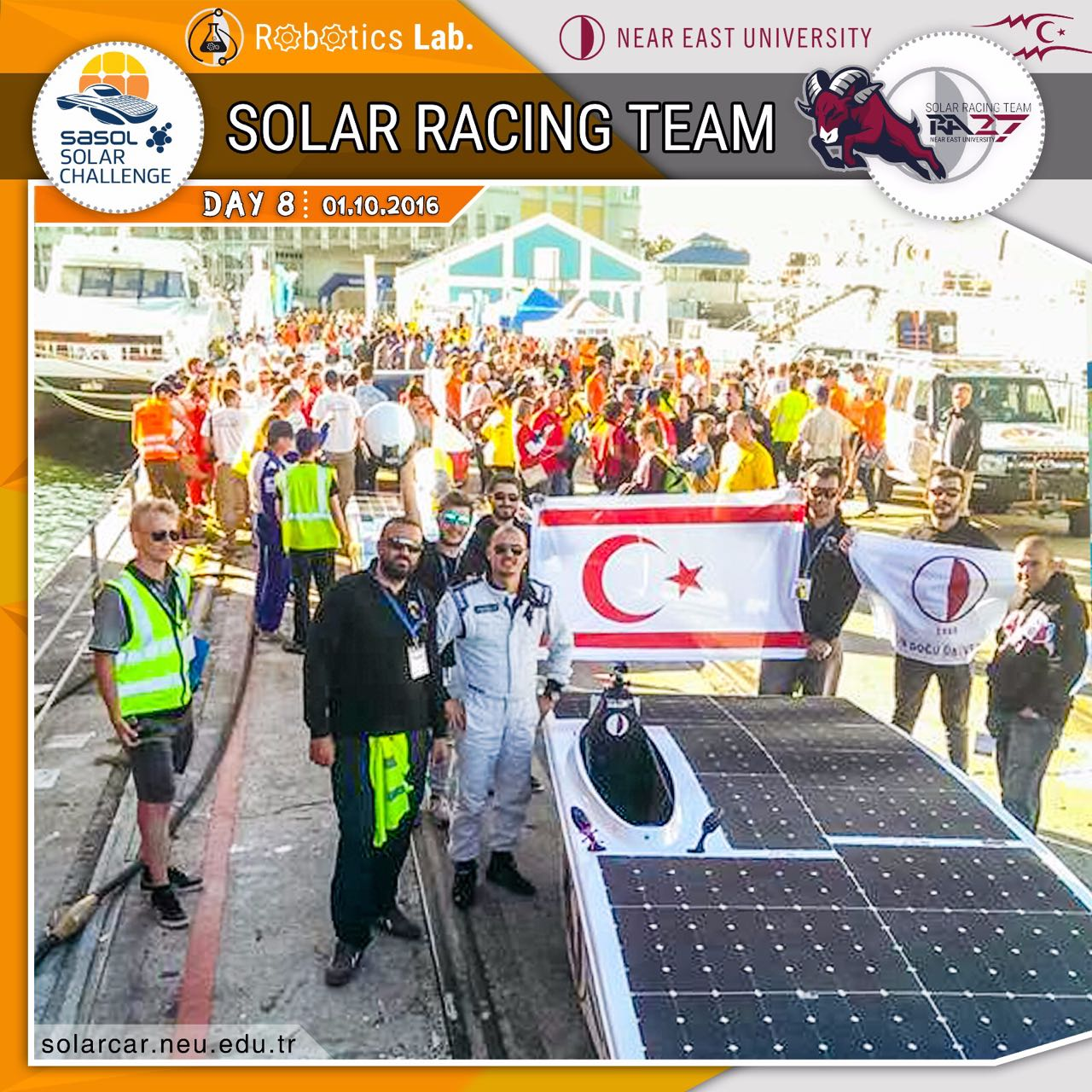 In South Africa Challenge, NEU-RA 27 ranks the leader-board as the 6th best solar team of the world
