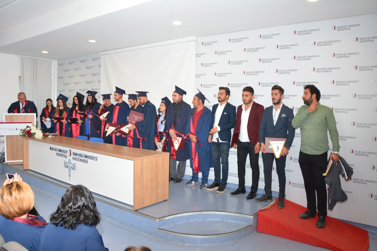 Technicians graduating from Near East University Vocational School of Health Services were awarded their diplomas
