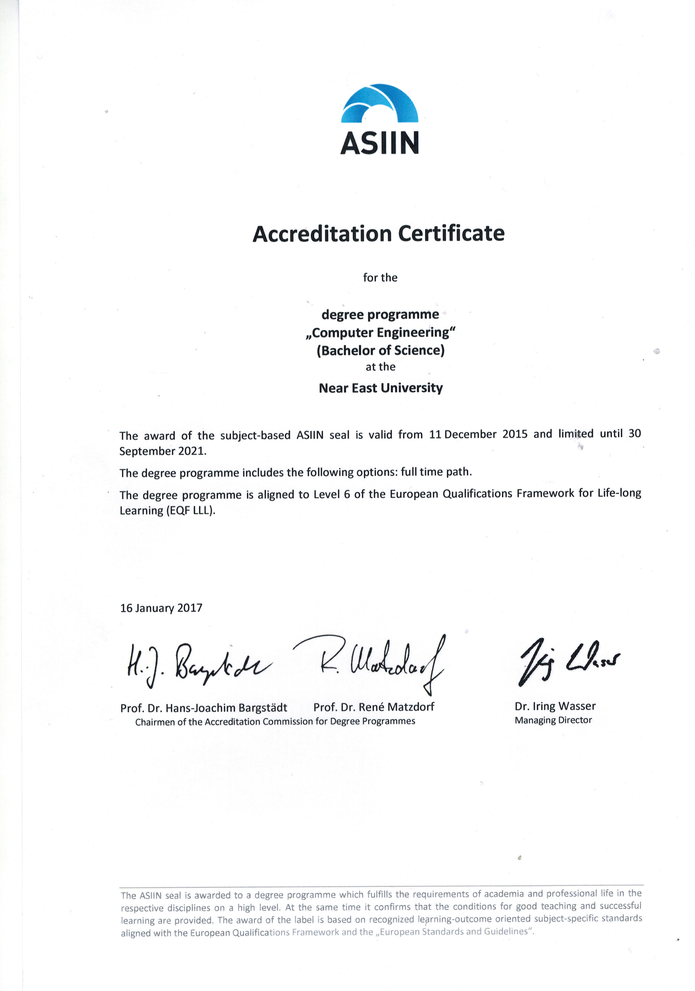Accreditation Certificates