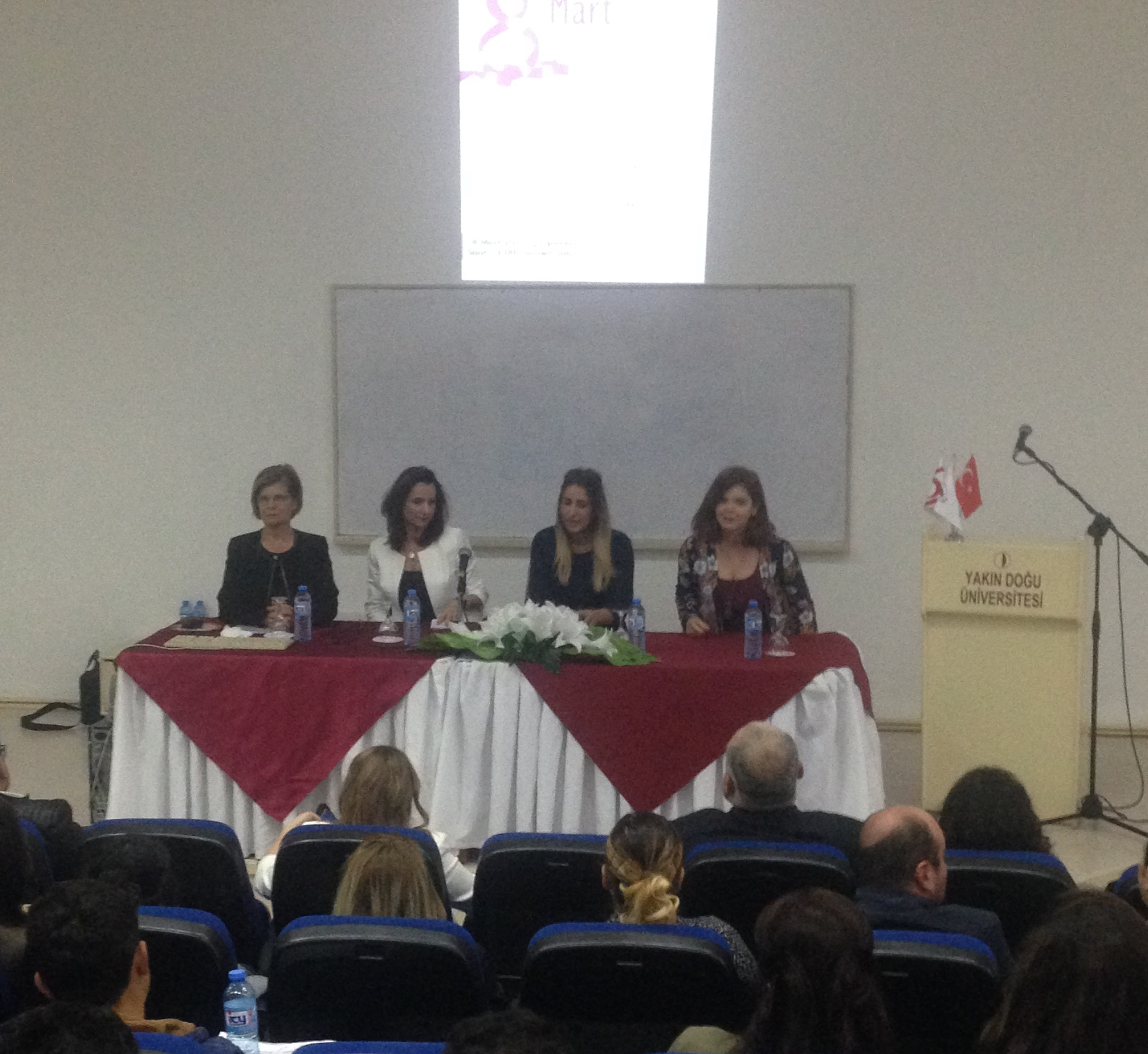 "The wife of the President of the Turkish Republic of Northern Cyprus and the Chairman of the KAYAD Community Center Meral Akıncı spoke on the ""Place of the Producing Woman in the Community"" on 8 March International Women's Day"