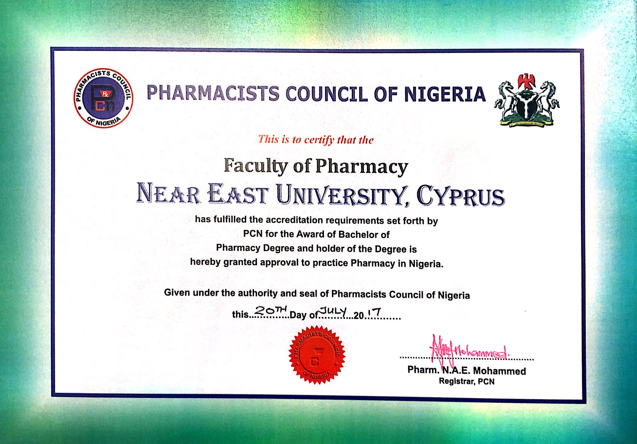 Near East University Faculty of Pharmacy becomes the only PCN accredited Faculty in Cyprus