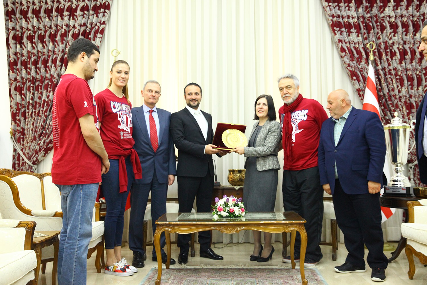 European Champion Near East University Women's Basketball Team met with cheers