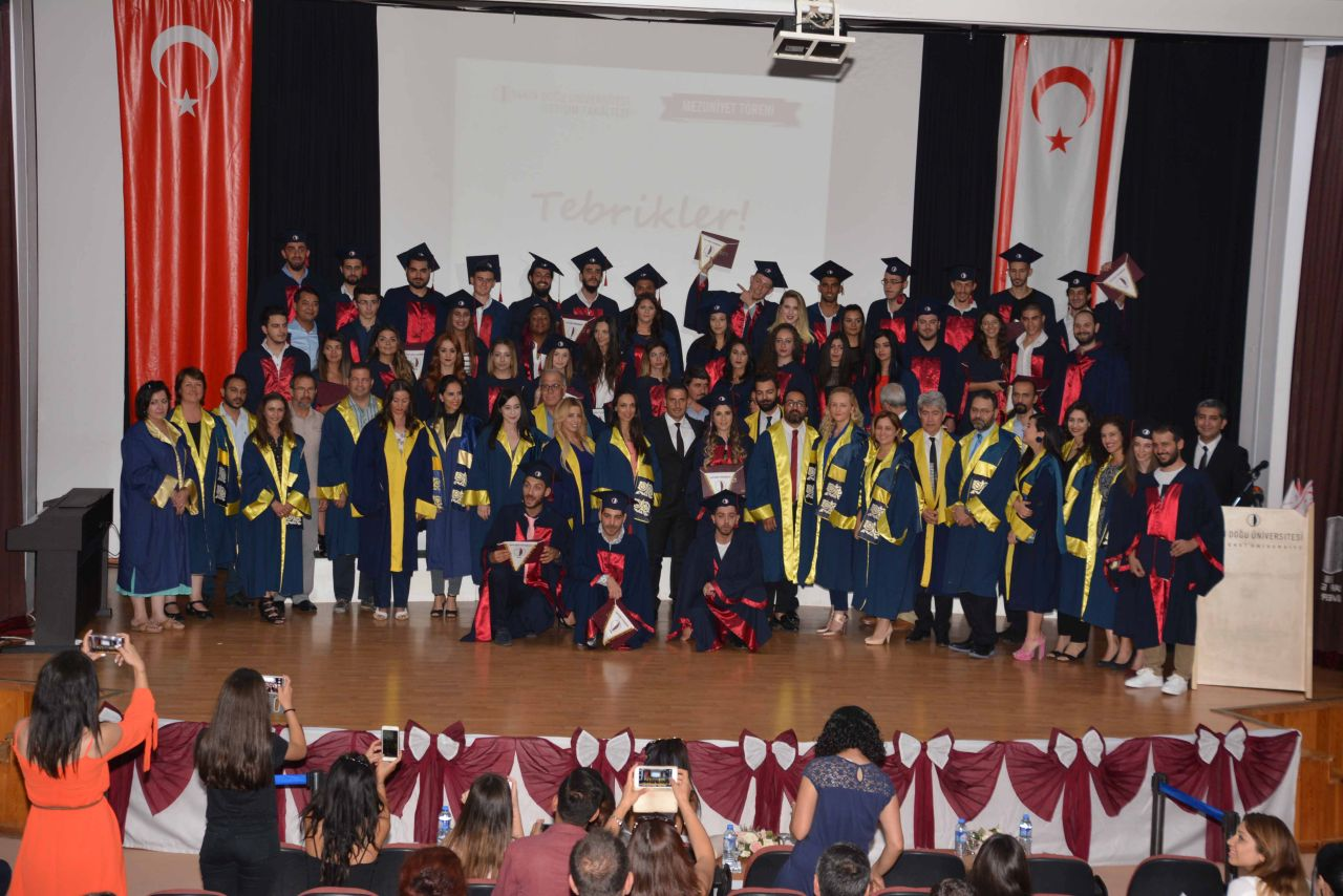 Near East University Faculty of Communication Graduates receive graduation diplomas with ceremony