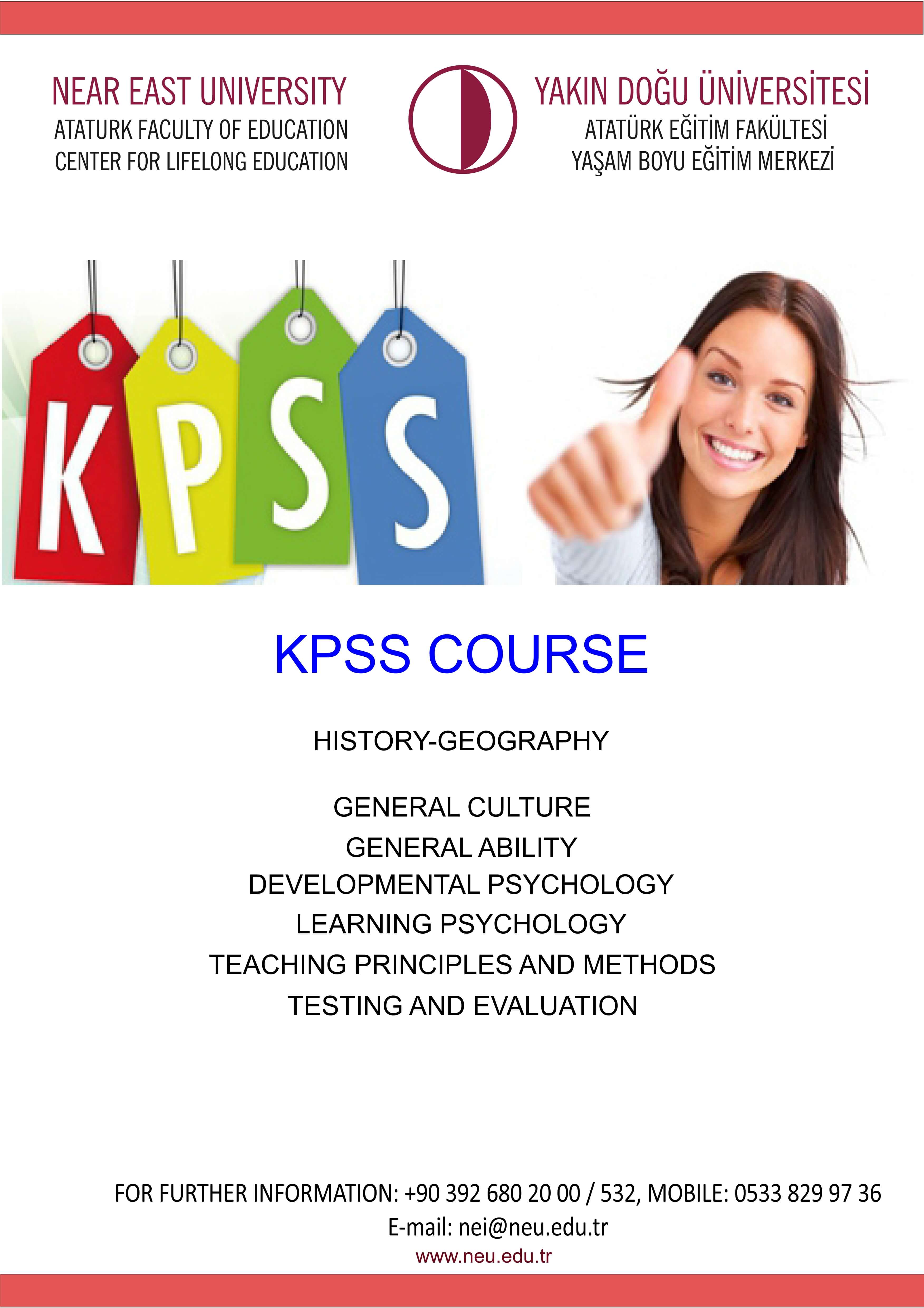 Near East University Lifelong Education Centre is running KPSS Courses to candidate civil servants