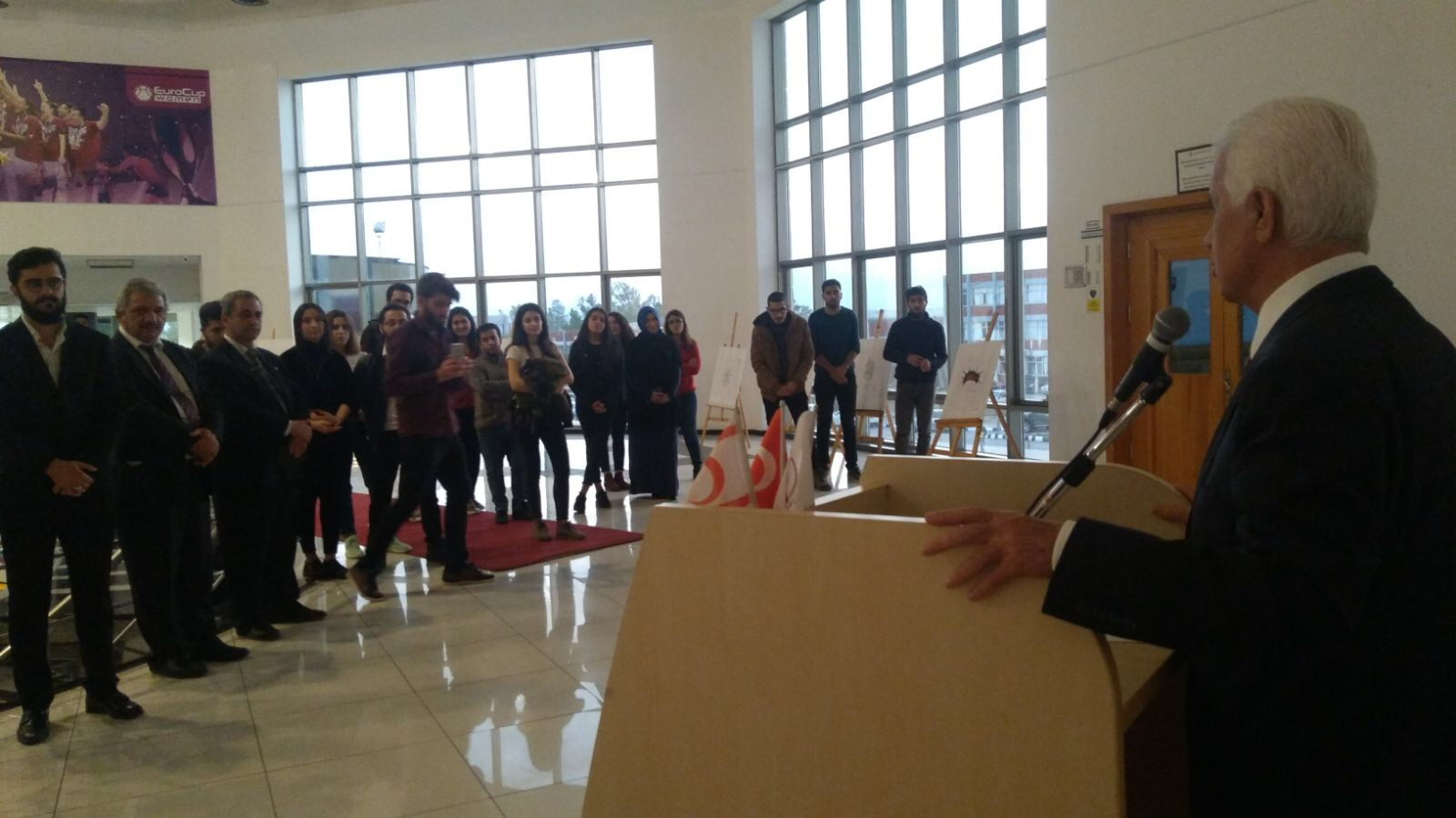 Organized by the Art Club of the Dean of Students Office of Near East University, 'Hata Kimde', exhibition and play, was realized with the participation of the third President Dr. Derviş Eroğlu