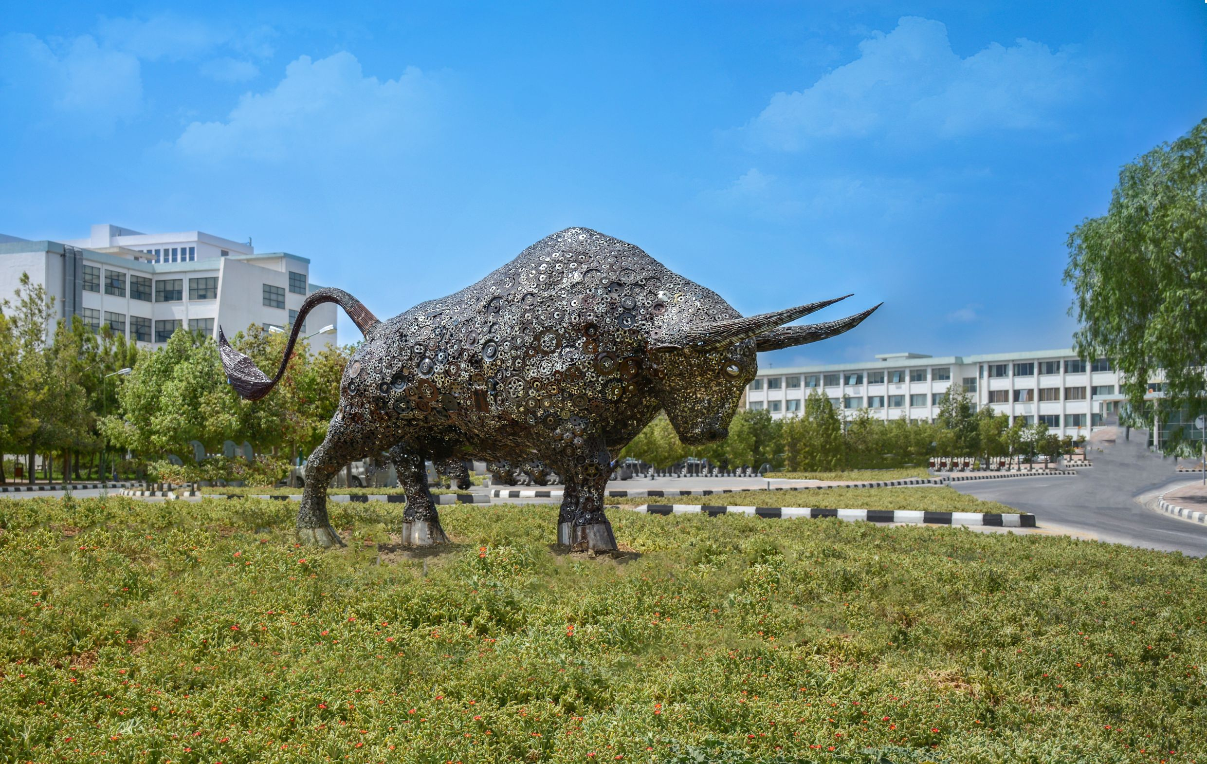 The Art of Reproduction … The Metal Bull Sculpture Made of Tens of Thousands Particles is exhibited on the Near East University campus