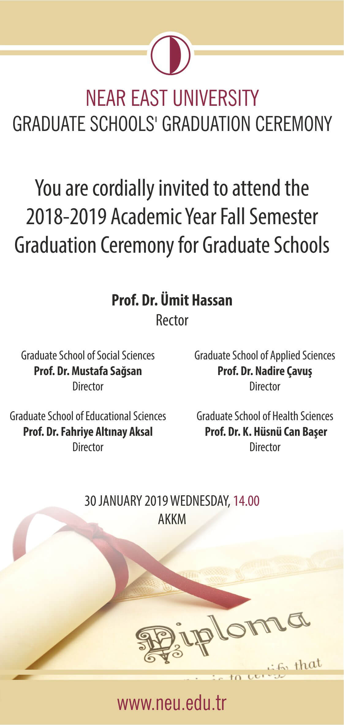 2018-2019 Academic Year Fall Semester Graduation Ceremony for Graduate Schools