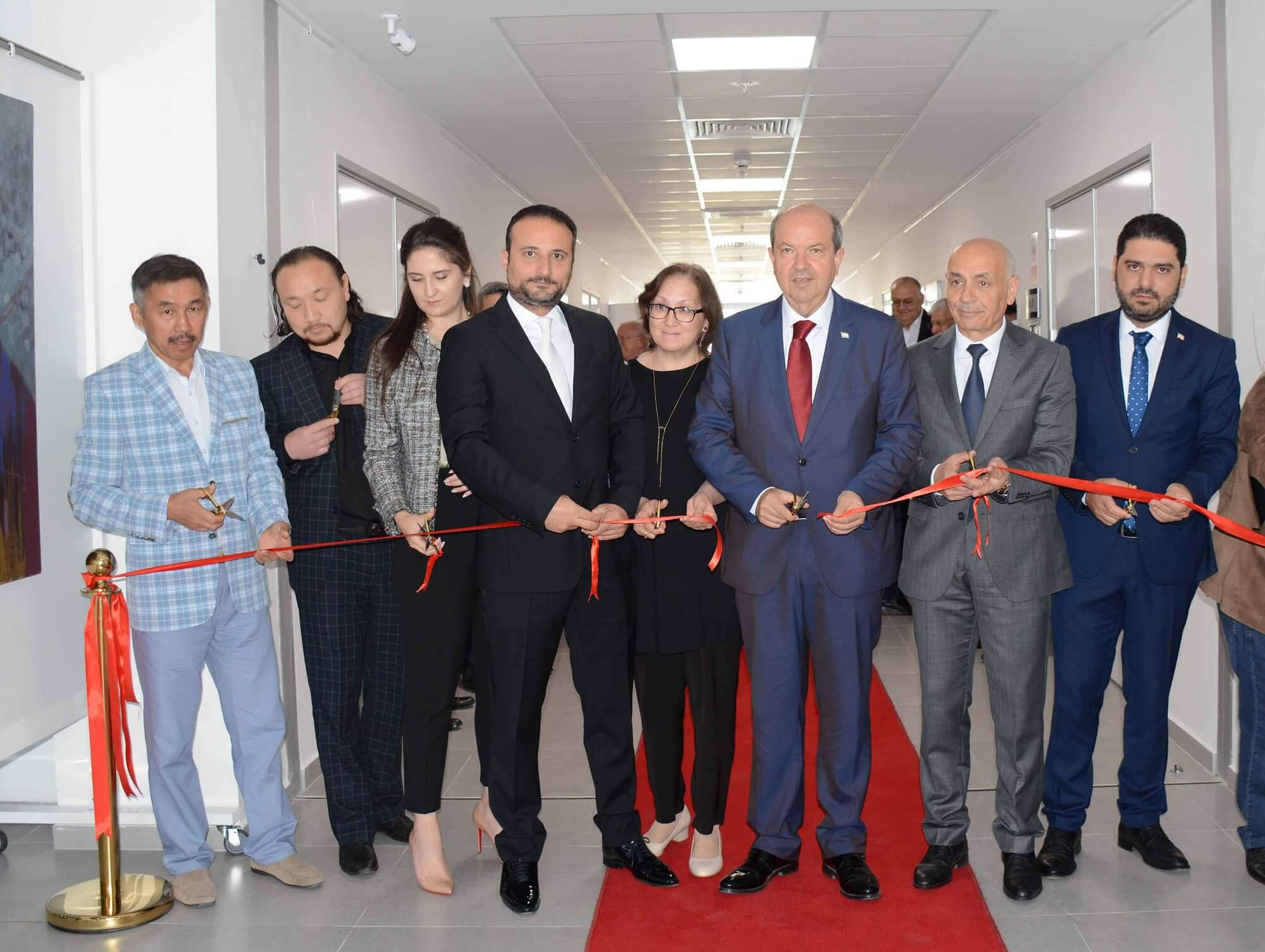 "The Exhibition of the 30 pieces prepared by 5 Kazakh Artists titled as ""Art Exhibition of Kazakh Artists"" has been opened by General Director of National Unity Party Ersin Tatar…"