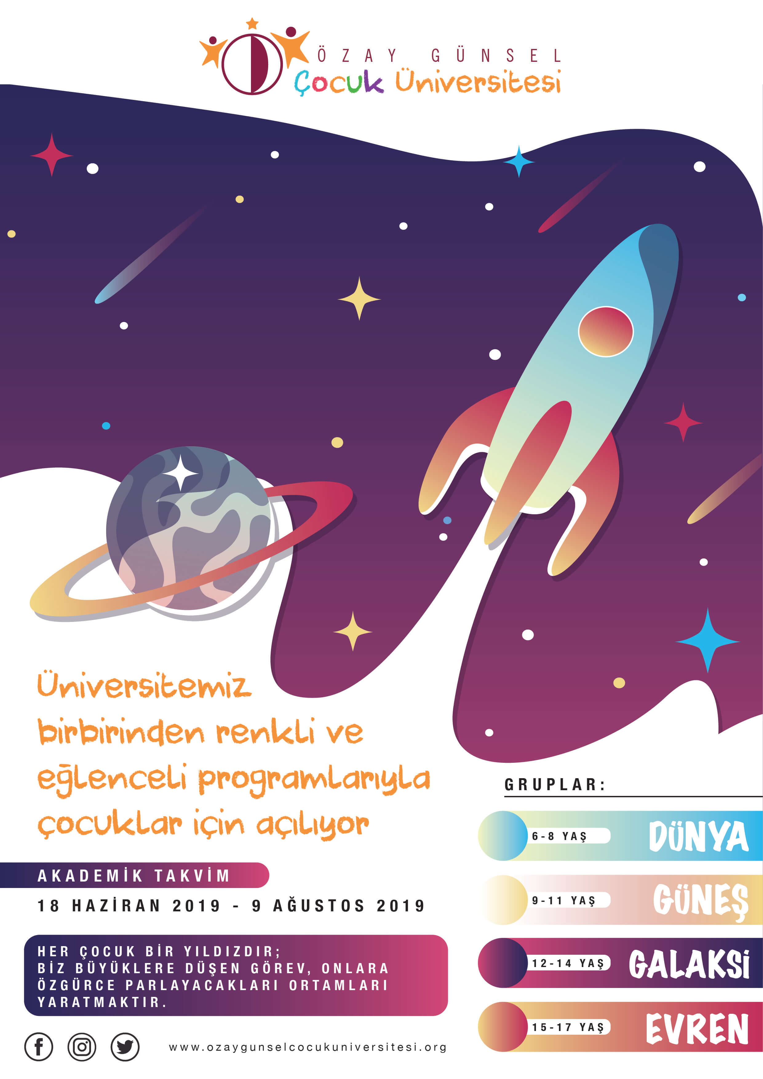 Özay Günsel Children's University 2019 Summer Semester Registration Starts on May 15th…
