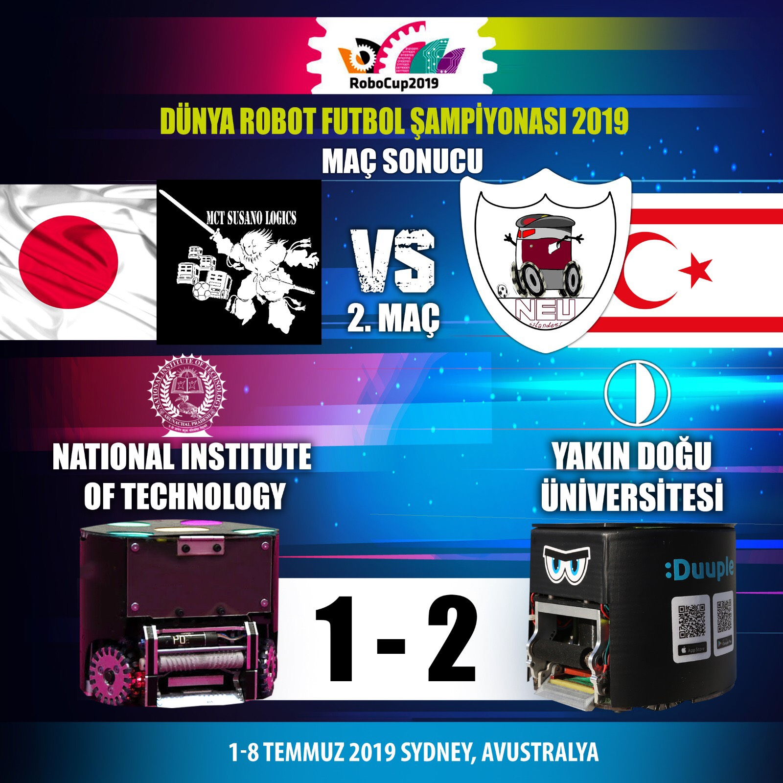 Near East University Robotic Football Team's Second Match at RoboCup