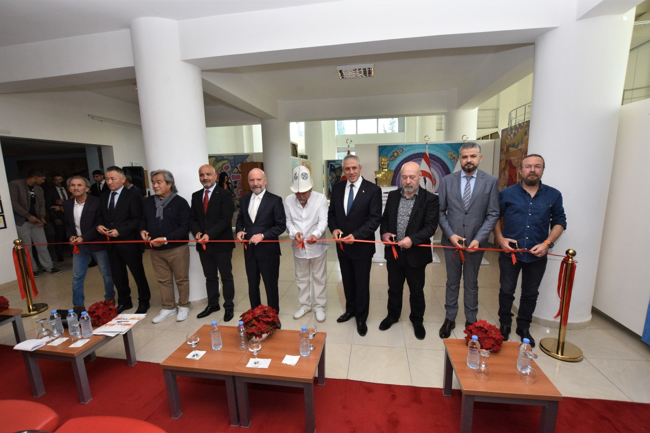 4 Solo Painting Exhibitions consisting of 109 Artworks exclusively created for Cyprus Museum of Modern Arts by Kazakh Artists opened by Minister of Economy and Energy Hasan Taçoy