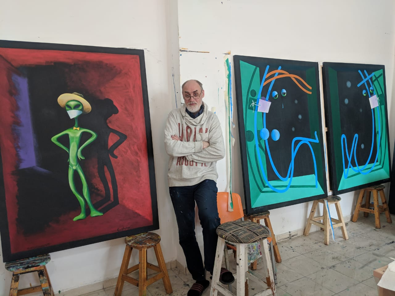 Artist Igor Gushchin carried the coronavirus outbreak to the canvas for the Cyprus Museum of Modern Arts